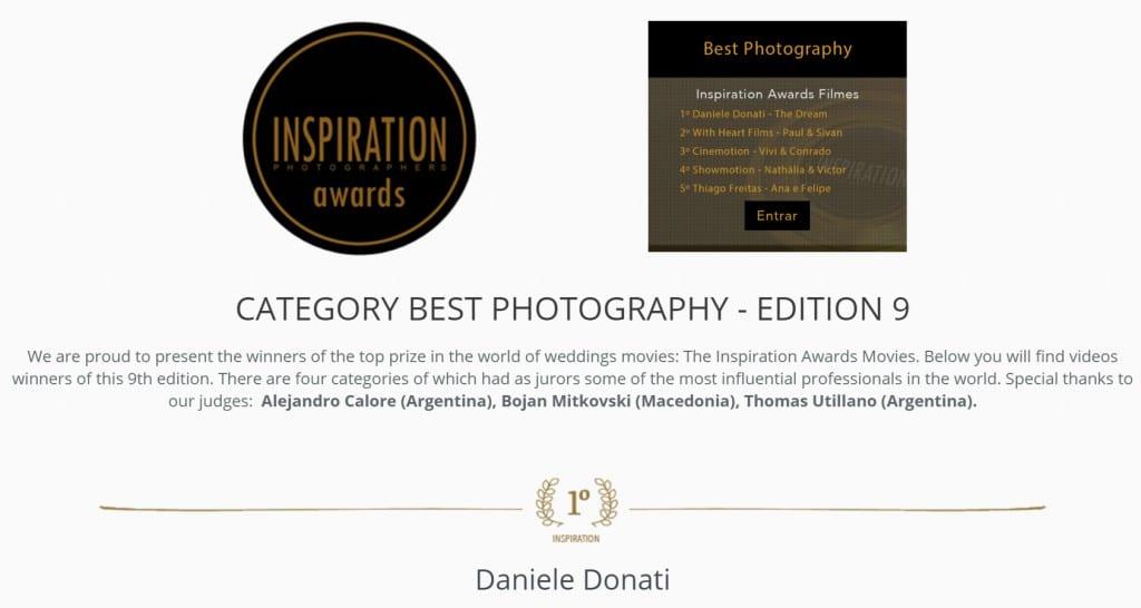 AWARDS INSPIRATION miglior fotografia