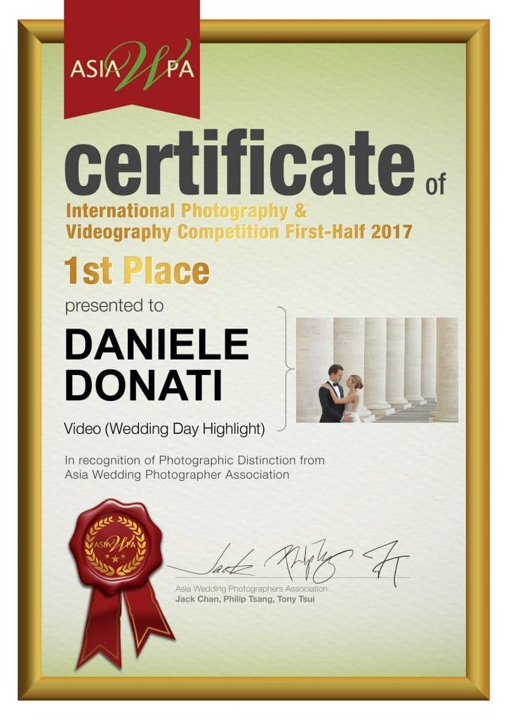 1st_half 2017_Certificate_Video_Wedding Day Highlight.ppt